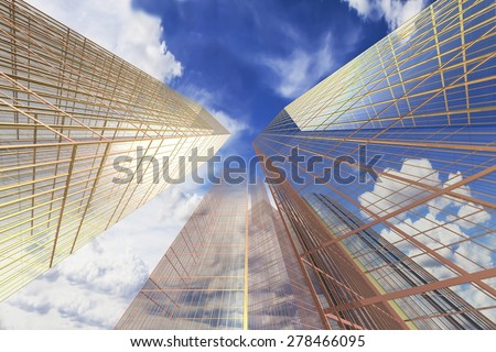 Office Building, Skyscraper against the sky, the business quarter - stock photo