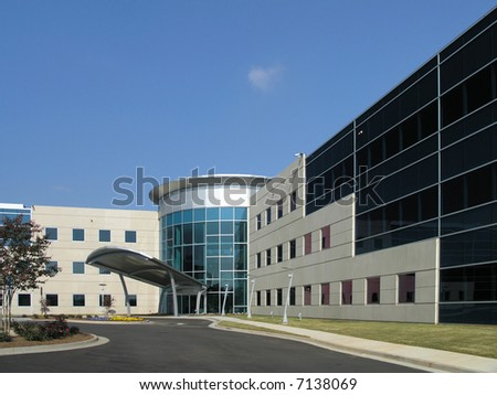 Office Building with stone and glass exterior