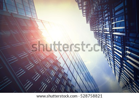 Office building with sun shines