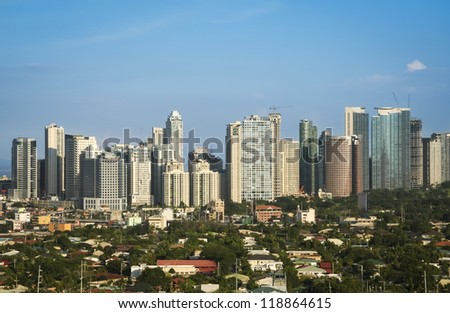 office buildings and condominiums in fort bonifacio the business and financial centre of manila city in the philippines - stock photo