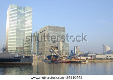 Office buildings and construction site at Canary Wharf in London, England - stock photo