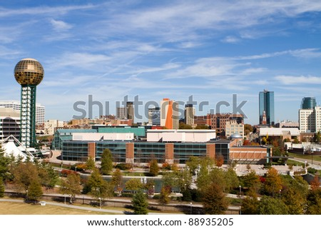 Office buildings and high rise towers fill the skyline of downtown Knoxville, Tennessee. - stock photo