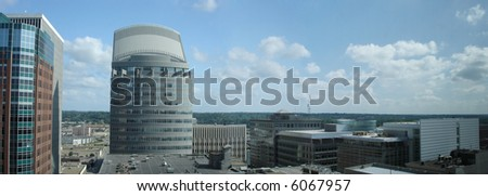 Office Buildings and Skyscrapers in downtown of Des Moines, Iowa; Panorama - stock photo