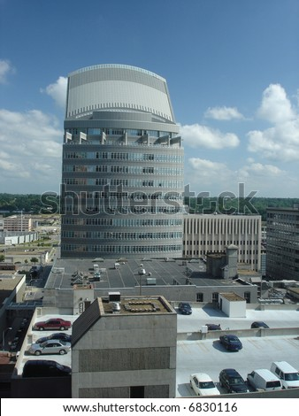 Office Buildings and Skyscrapers in downtown of Des Moines, Iowa, USA - stock photo