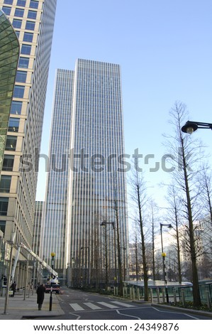 Office buildings and street at Canary Wharf in London, England