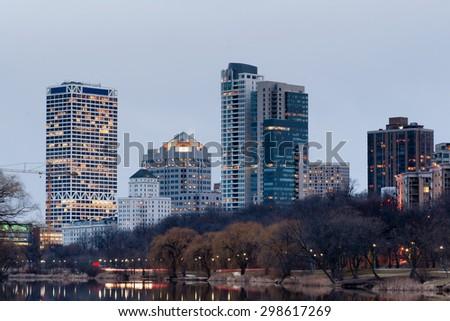 Office Buildings Apartments Condos Lake Park Milwaukee Wisconsin - stock photo