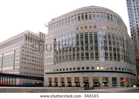 office buildings in canary wharf - stock photo