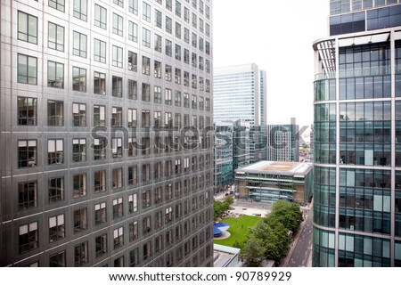 Office Buildings in Canary Wharf, London - stock photo