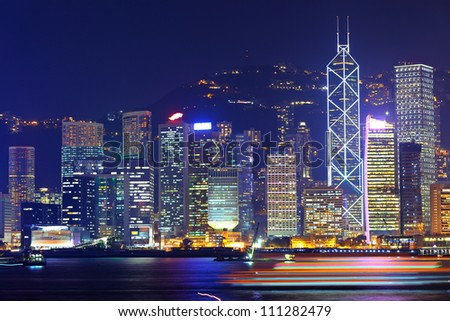 office buildings in Hong Kong at night - stock photo