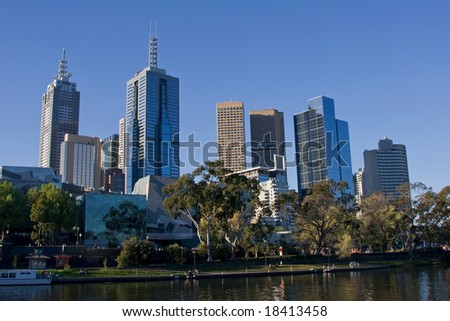Office buildings in Melbourne's financial center overlooking the river.
