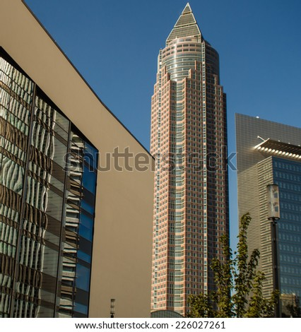 Office buildings in the exhibition site of Frankfurt, Germany