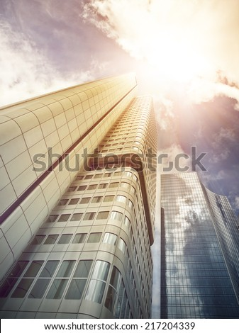 office buildings in the sun, Frankfurt am Main, Germany - stock photo