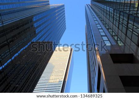 Office buildings in Toronto financial district - Toronto, Ontario, Canada - stock photo