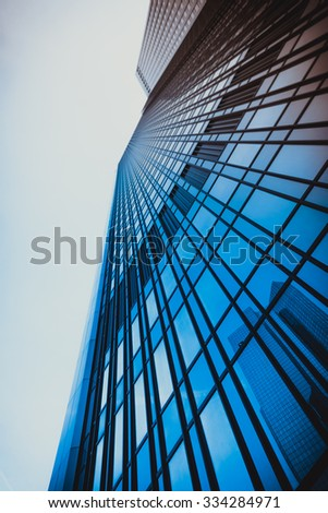 office buildings. Modern glass silhouettes on modern building