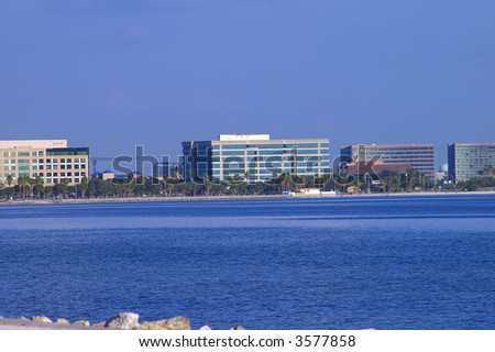 Office buildings on the Tampa skyline - stock photo