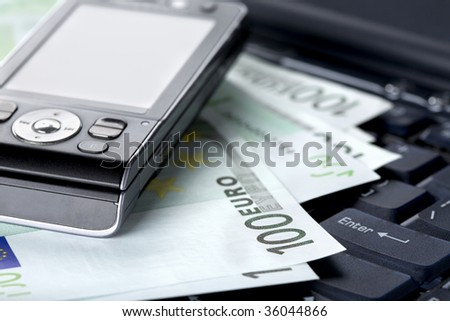 Office, business accessories and euro banknotes - stock photo