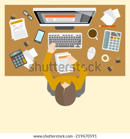 Office business accountant management workplace with female person investment growth computer icons  illustration - stock photo