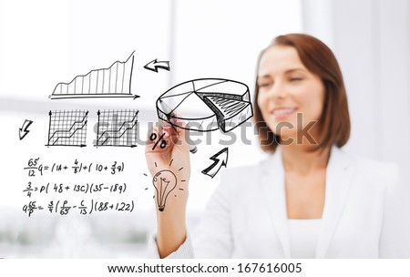 office, business, economics, finances and technology concept - smiling businesswoman writing chart on virtual screen