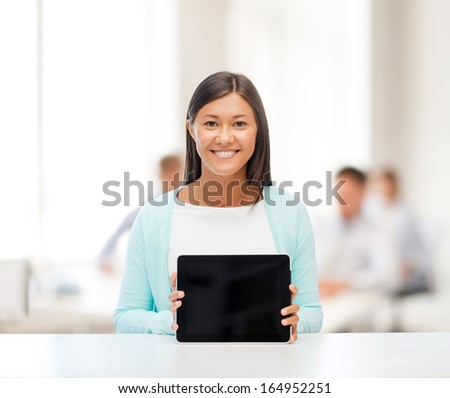 office, business, education, technology and internet concept - businesswoman or student with tablet pc - stock photo