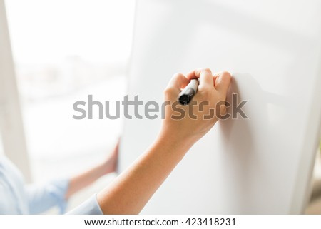 office, business, people and education concept - close up of hand with marker writing or drawing something on flip chart - stock photo