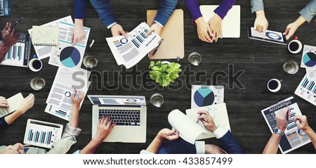Office Busy Meeting Colleagues Corporate Data Concept - stock photo