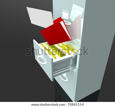 Office cabinet with an open compartment which houses the folder with paper - stock photo