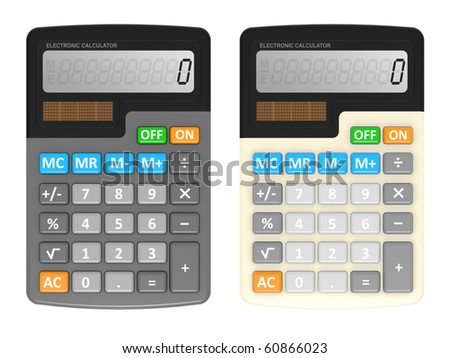 Office calculator isolated on a white background - stock photo