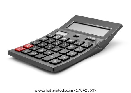 office calculator on white background - stock photo