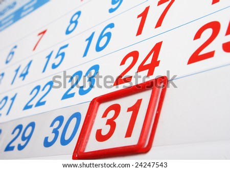 office calendar with index on a last day of the month - stock photo