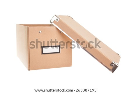 office cardboard box with lid open isolated on white - stock photo