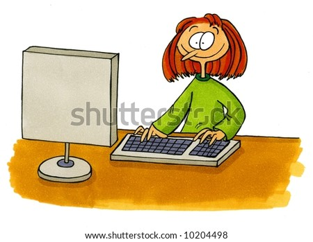 Office Cartoons Number 1 - Woman working at computer