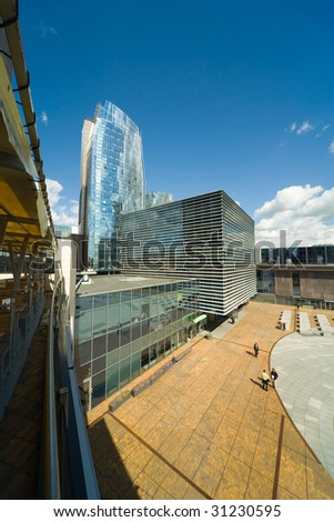 office center and blue sky - stock photo