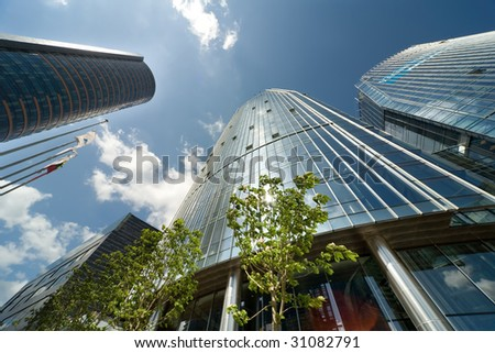 office centre and blue sky - stock photo