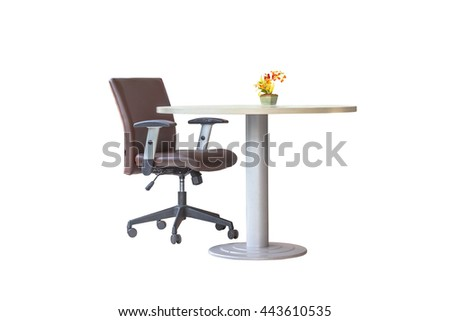 office chair and flower on the table,white background.