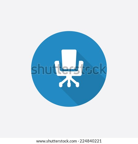 Office chair Flat Blue Simple Icon with long shadow, isolated on white background   - stock photo