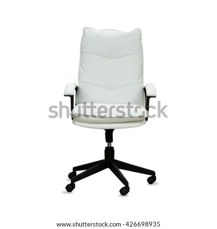 Office chair from white leather isolated - stock photo