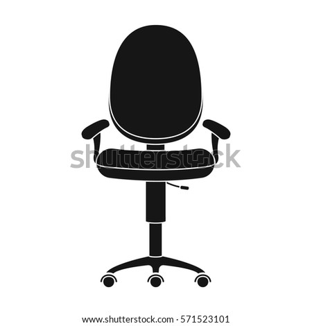 Office Chair Icon In Black Style Isolated On White Background Furniture And Interior Symbol