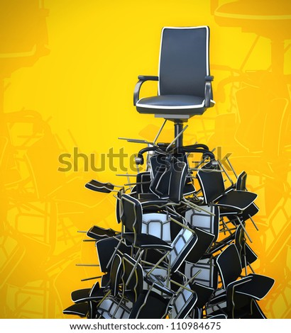 office chair on pyramid from chairs - stock photo