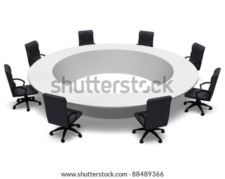 office chairs and round table - stock photo