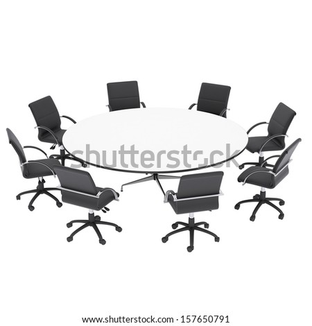 Office chairs and round table. Isolated render on a white background - stock photo