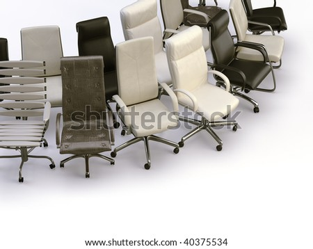 office chairs on the white background - stock photo