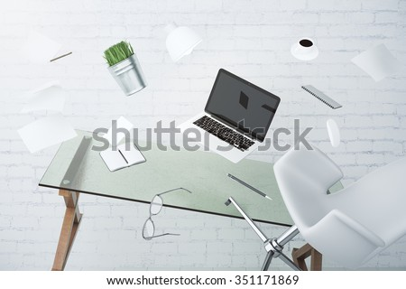 Office chaos concept with laptop, furniture and other accessories flying in the air 3D Render - stock photo