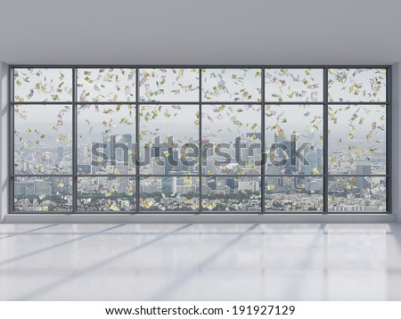 Office, city view and falling money. - stock photo