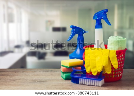 Office cleaning service concept with supplies - stock photo
