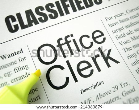 Office Clerk (Classified Ads)   - stock photo