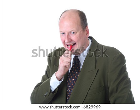 office clerk isolated on white chewing his pen