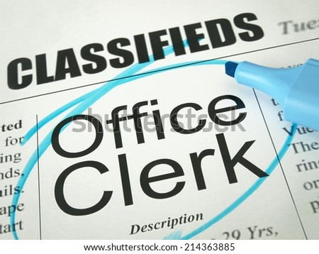 Office Clerk (job search)  - stock photo