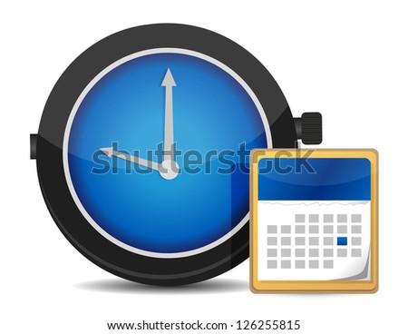 office clock and calendar illustration design over white - stock photo