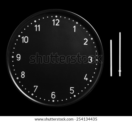 Office clock face no hands. Black clock without hands - stock photo