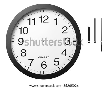 Office clock with separated hands,  isolated on the white background, clipping path included. - stock photo